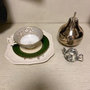 Tea cup and saucer n plate pear with shot glasses